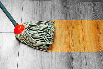 Mopping with water can damage wood flooring
